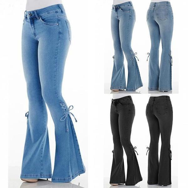 fashion High Waist Slim Fit Jeans Female Bell Bottom Bootcut Trousers Ladies Wide Leg Jeans Pants Meet