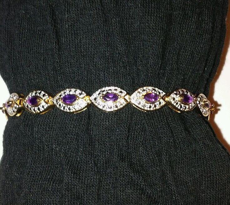 "925 R China Marquee Purple Amethyst 7"" Tennis Bracelet with Safety Latch | Jewelry & Watches, Fine Jewelry, Fine Bracelets | eBay!"