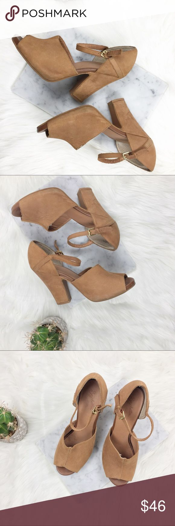 Seychelles open toe tan leather heeled sandals Lovely heeled sandals by Seychelles in a neutral tan color that goes with pretty much anything. These are great shoes for spring. They are super comfortable!   Preowned.  shows few scuffs and signs of wear. Seychelles Shoes Sandals