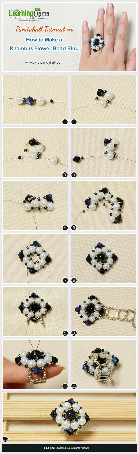 Pandahall-Tutorial-on-How-to-Make-a-Rhombus-Flower-Bead-Ring: