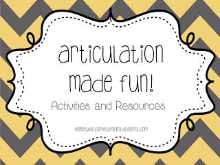 Home Sweet Speech Room : Articulation Made Fun! {1000 Likes Celebration Day 5}