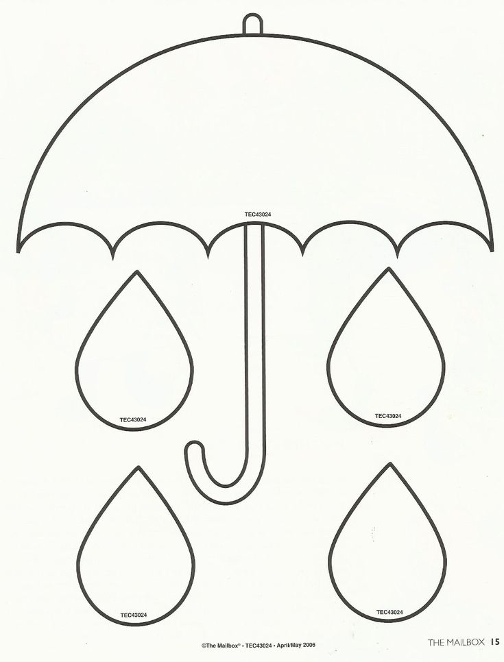 Spring - printable umbrella template - Use for filling a bucket activity.