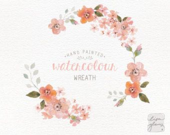 Watercolor wreath: hand painted floral wreath clipart / Wedding invitation clip art / commercial use / crimson blossom / CM0063c by LisaGlanzGraphics