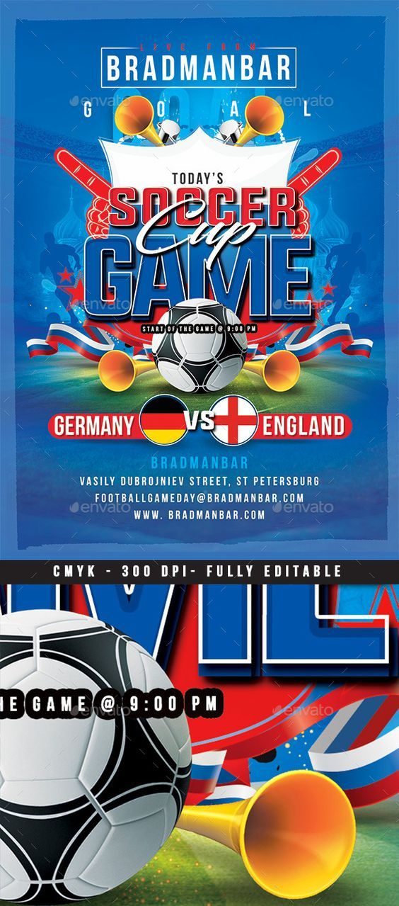 Soccer Cup Game Day Sport Flyer Template Pinterest Sports