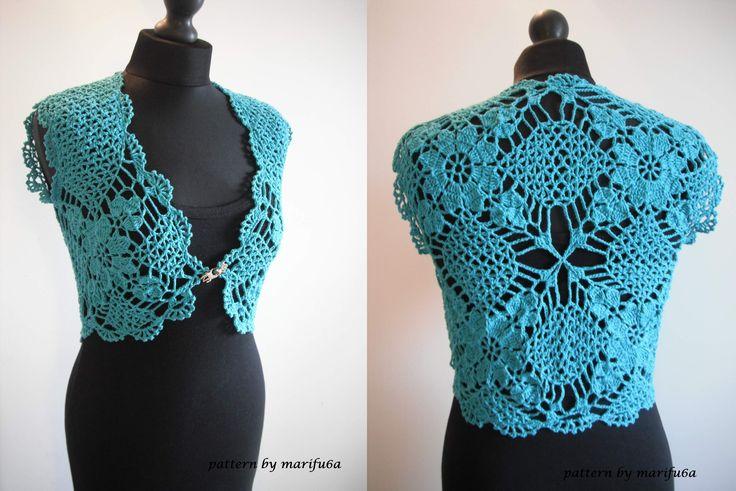 how to crochet mint bolero shrug chaleco free pattern tutorial by marifu6a