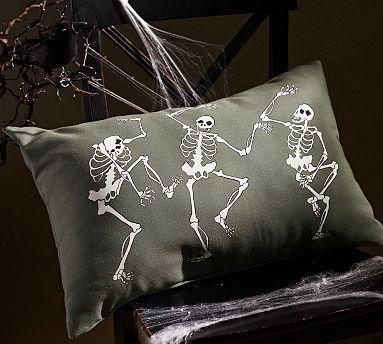 pottery barn halloween 2014 dancing skeleton outdoor lumbar pillow - Halloween Pillows