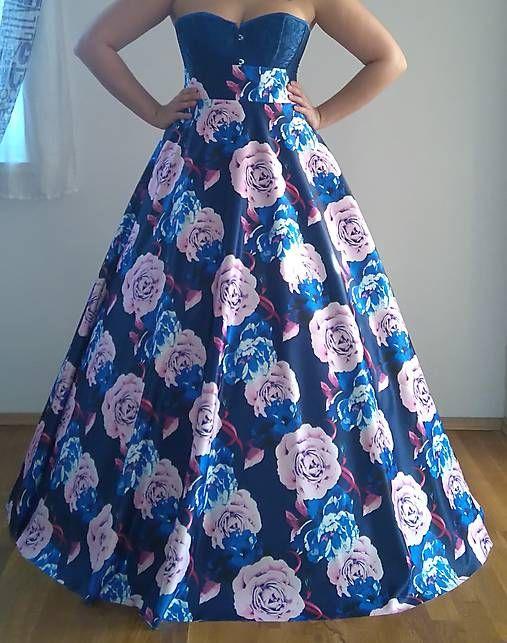 51611dddb3f1 Spoločenská sukňa MAXI Blue Flowers   BouquetLILAS