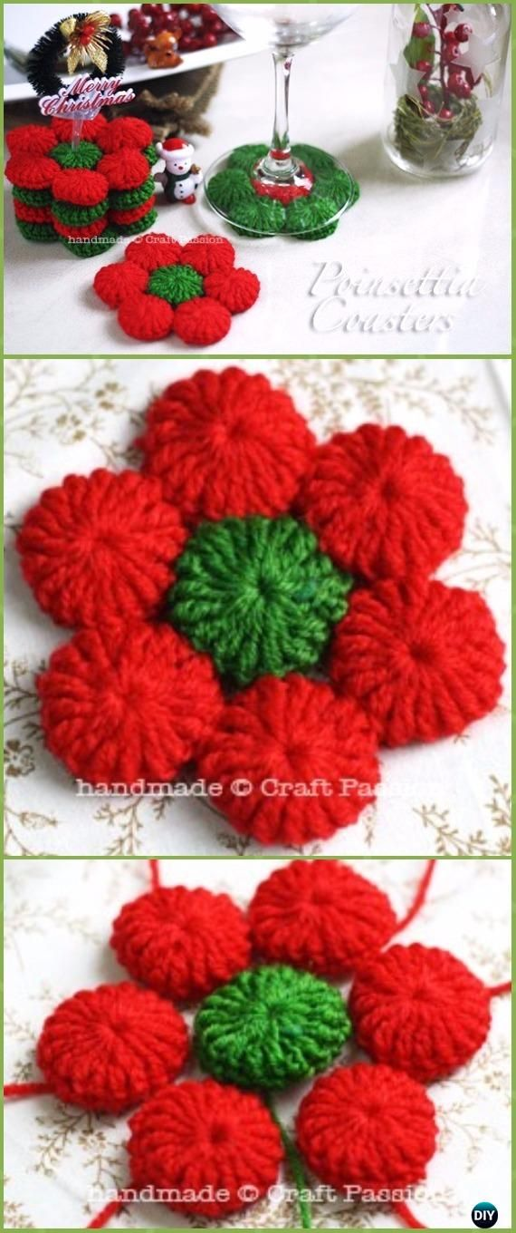 Crochet Yo-yo Puff Poinsettia Drink Coasters Free Patterns - Crochet Poinsettia Christmas Flower Free Patterns