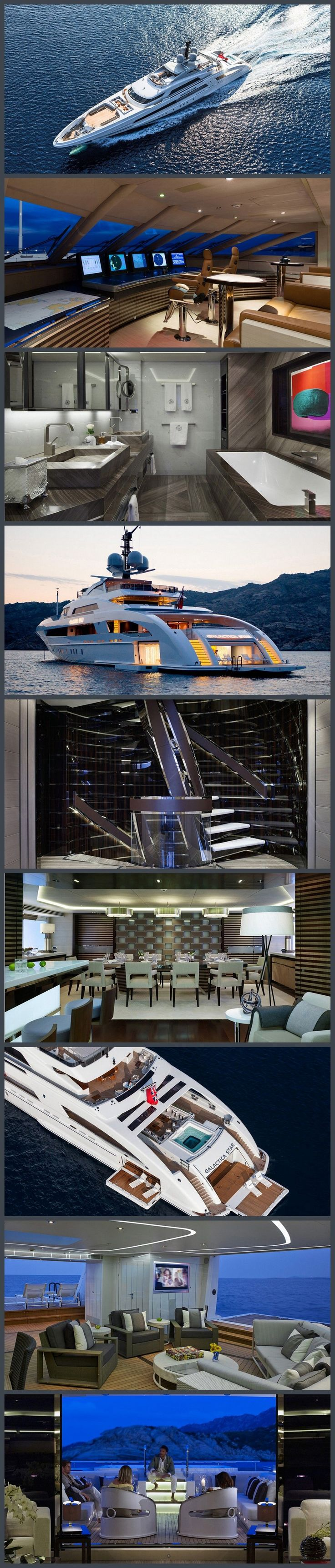 Yacht interior the stairs bathroom and dining room are beautiful. A floating house. I would sell everything I own buy this and live on it