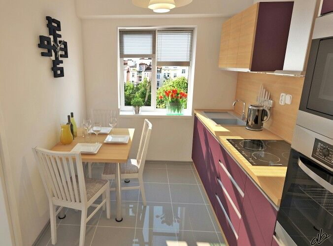 Návrh kuchyňské linky - Lucemburg (fialová+bříza) #dbdesign