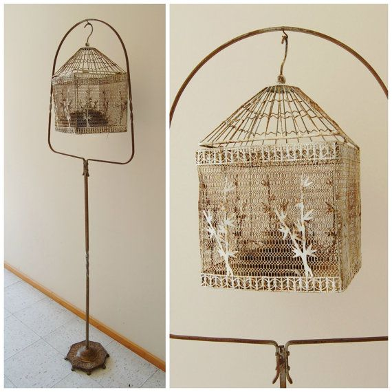 Bird Cage and Stand - Vintage Metal Wire - Chippy White - Tall Large Ornate Primitive Rustic Rusty Garden Outdoor Garden Porch Home Decor