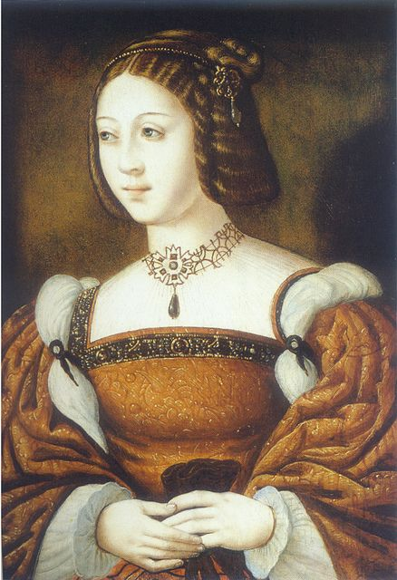 Isabelle of Portugal: Isabel de Aviz, Infanta de Portugal was born on 4 October 1503 at Lisbon, Portugal. She was the daughter of Manuel I de Aviz, Rei de Portugal and Maria de Castilla y Aragón, Infanta de Castilla.She married Karl V von Habsburg, Holy Roman Emperor, son of Felipe I von Habsburg, Rey de Castilla and Juana, Reina Juana de Castilla, on 11 March 1526 at Seville, Spain. She died on 1 May 1539 at age 35 at Toledo, Spain.
