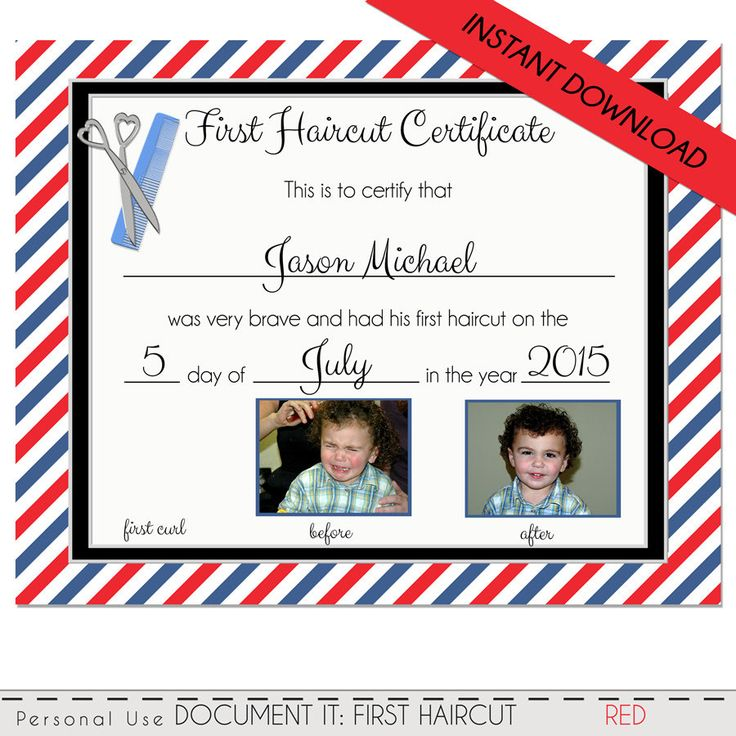 FIRST HAIRCUT CERTIFICATE - Baby First Haircut Photo Certificate - Instant Download- psd File - diy - 8 x 10 High Quality 300 dpi by DigitalPackages on Etsy
