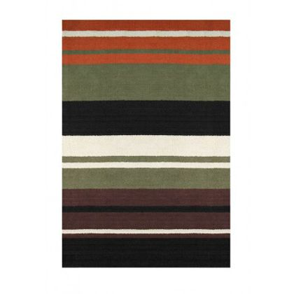 <p>Stripes are always in style, and this rug takes them to a new level! Rich browns, mossy green, orange and white mix to bring some drama to your floor. </p>
