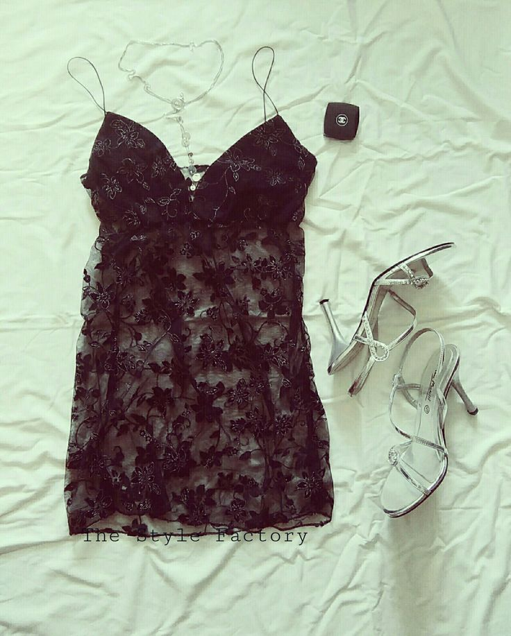Dress with black tulle flowers over black with silver thread // thestylefactory.pl //