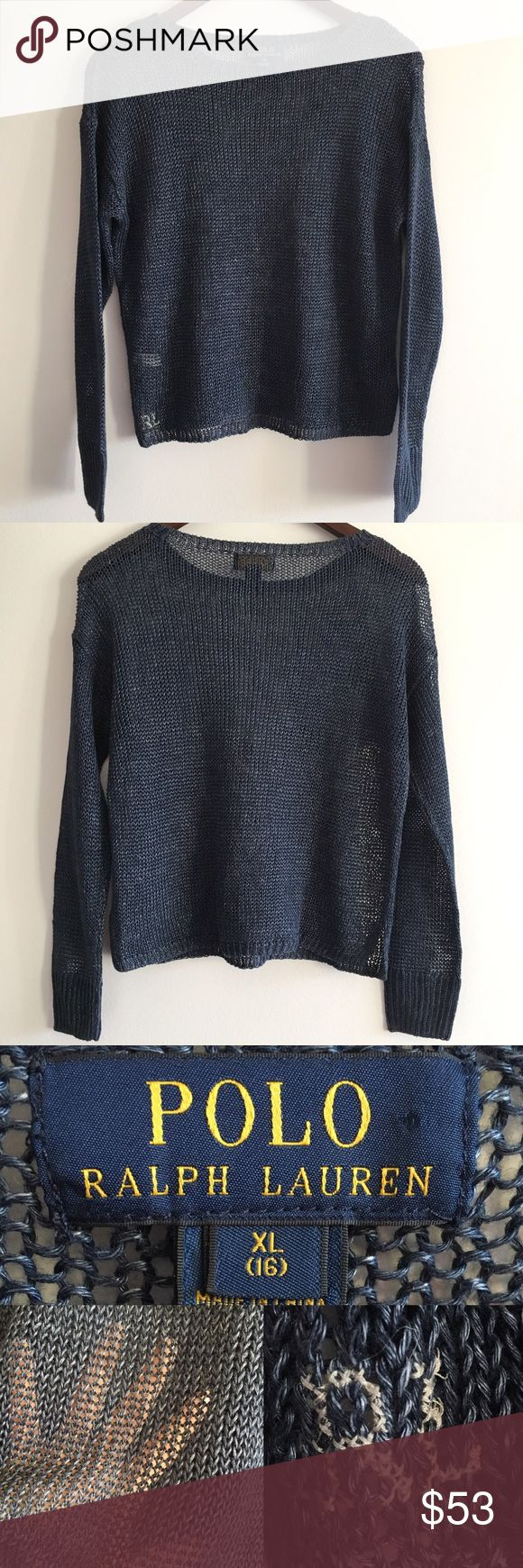 """POLO Ralph Lauren Linen Sweater This sweater pairs great with denim for the perfect casual look 💙 It is very loosely knit, which means it's pretty see-through (3rd pic)--so I recommend layering it over a white button-down, cami, or bodysuit 😎  Stats (laying flat): Front length: 18.5"""" Back length: 19.5"""" Width (armpit to armpit): 19"""" Sleeve: 20"""" from shoulder seam   100% linen  Pre-owned, with minimal signs of wear   No flaws   Hand wash cold   No trades Polo by Ralph Lauren Sweaters Crew…"""