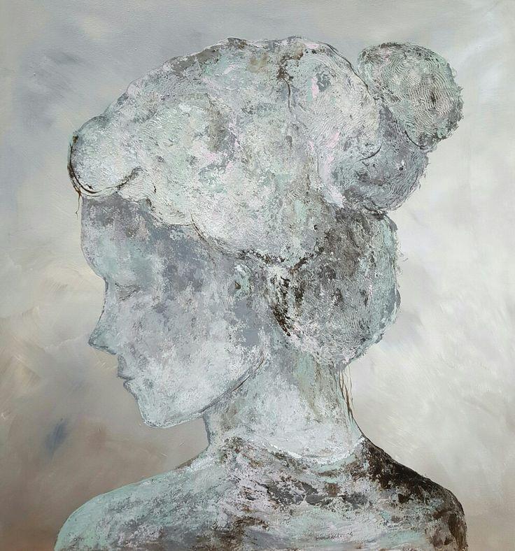 Schilderij 'Lady' acrylverf afgewerkt met mat vernis   60x60cm www.schilderijenbydini.com