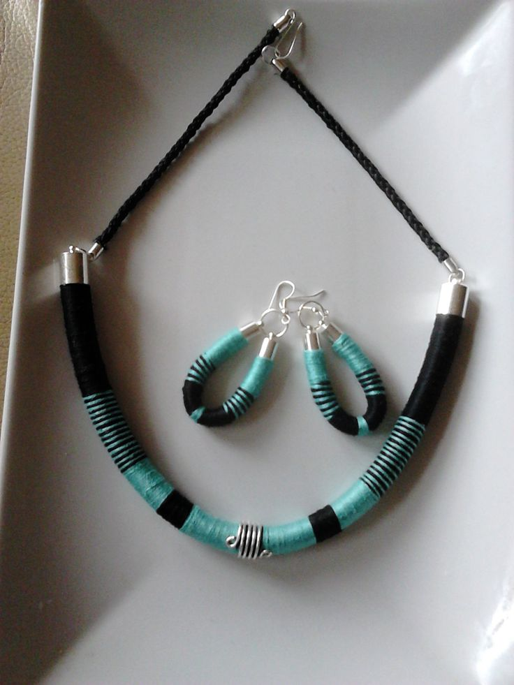 African (tribal) style necklace and earrings (gift), handmade wrapped,colorful ,rope necklace, summer necklace, jewellery, tube necklace, by machama on Etsy