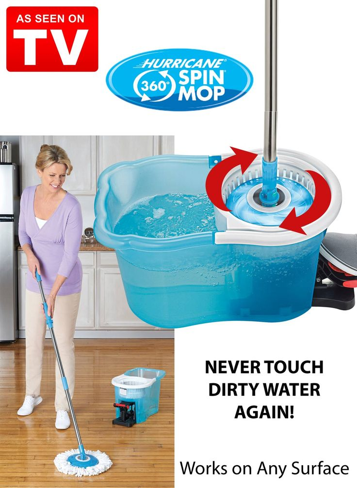 """Have you ever avoided cleaning your floors because you just didn't want to deal with the messy mop, dirty water and sloppy mess on the floor? The Hurricane Spin Mop is an """"As Seen on TV"""" product that can put an end to floor cleaning frustrations. It has a simple yet effective design that will leave you wondering how you managed without it."""
