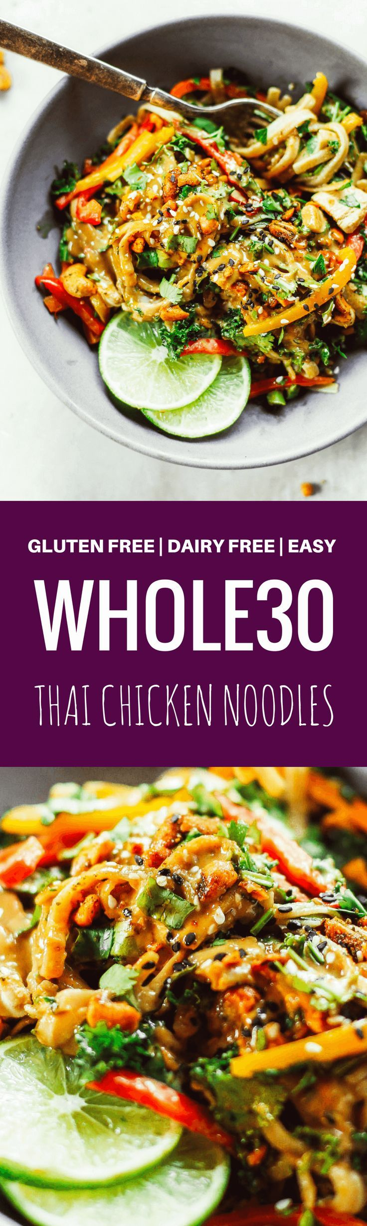 """Meet your lunch plans.  Healthy whole30 Thai chicken noodles with """"peanut"""" sauce, kale, and bell peppers. An easy family friendly meal, serve hot or cold! Easy whole30 dinner recipes. Whole30 recipes. Whole30 lunch. Whole30 recipes just for you. Whole30 m"""