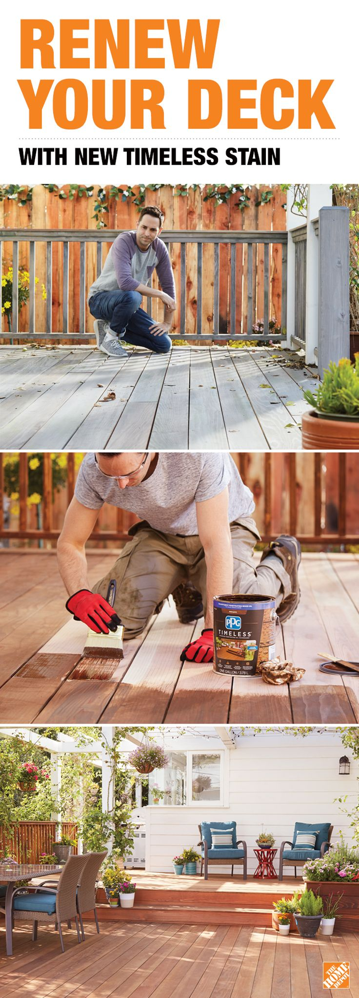Renew your weather-beaten deck with a stain that will look great and stand up to the elements for years to come. It's Timeless Stain, new from PPG, a brand trusted by pros for over 100 years. Only at The Home Depot.