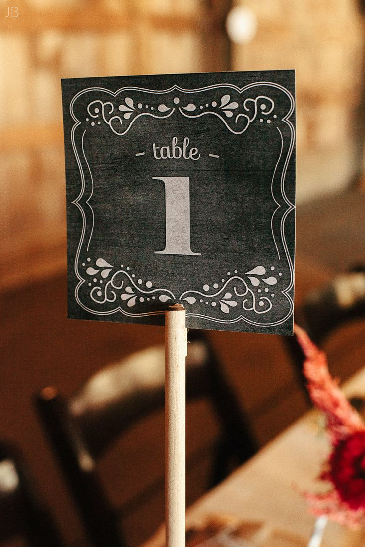 Chalkboard table numbers for our barn wedding. #DIY with printables and dowel rods. Printables from Botanical Paperworks.