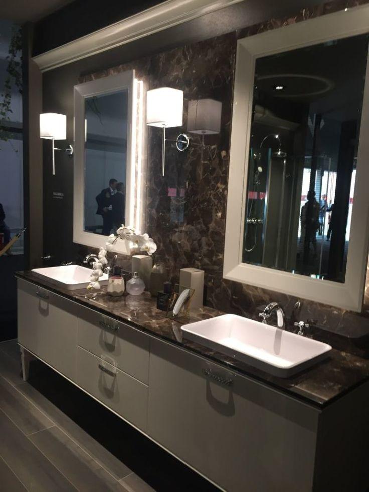 Bathroom brown marble and double vanity