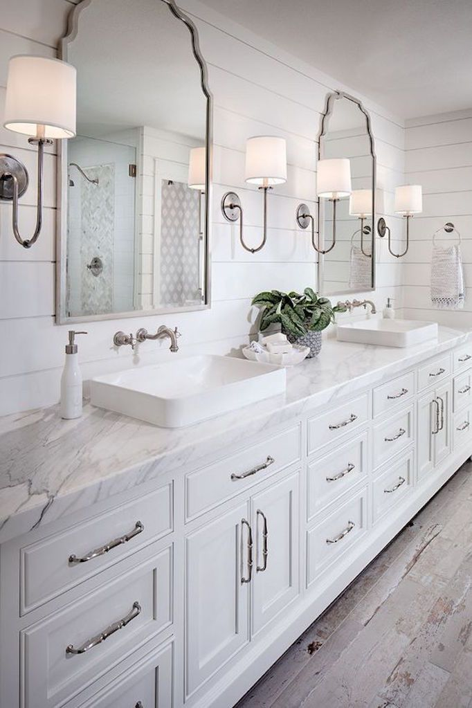 bathroom lighting design. master bathrooms with shiplap walls love the marble counters double vessel bowl sinks and bathroom lighting design