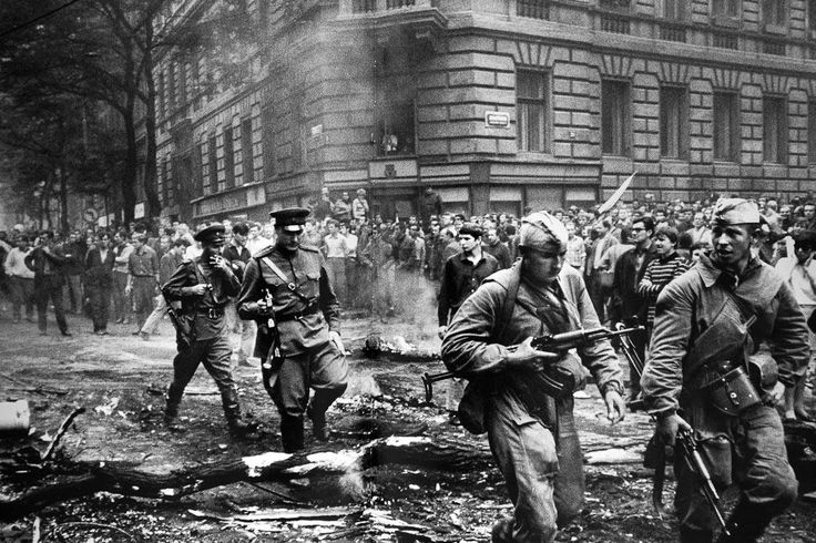 Street fight. Czechoslovakia, Prague, on August 21, 1968.