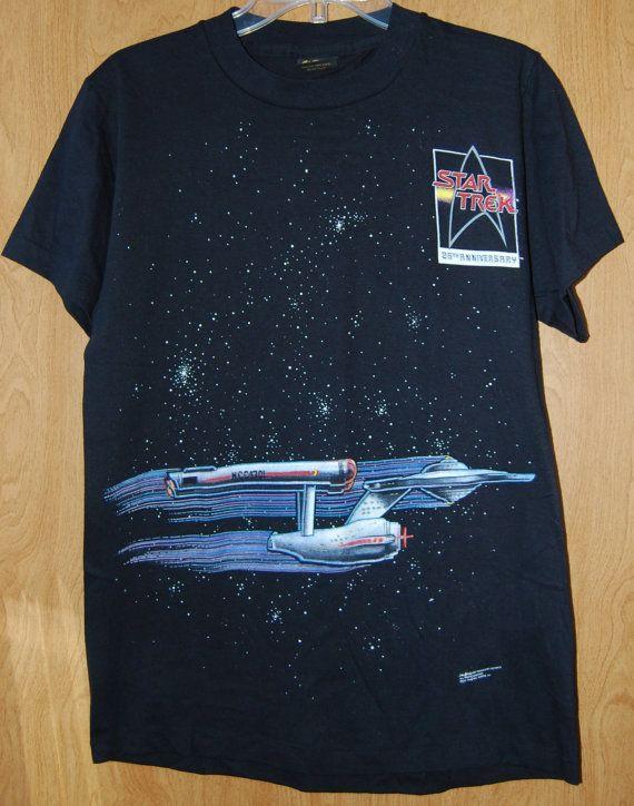 Vintage 1991 *unworn* Star Trek 25th Anniversary black t-shirt size MEDIUM Front…