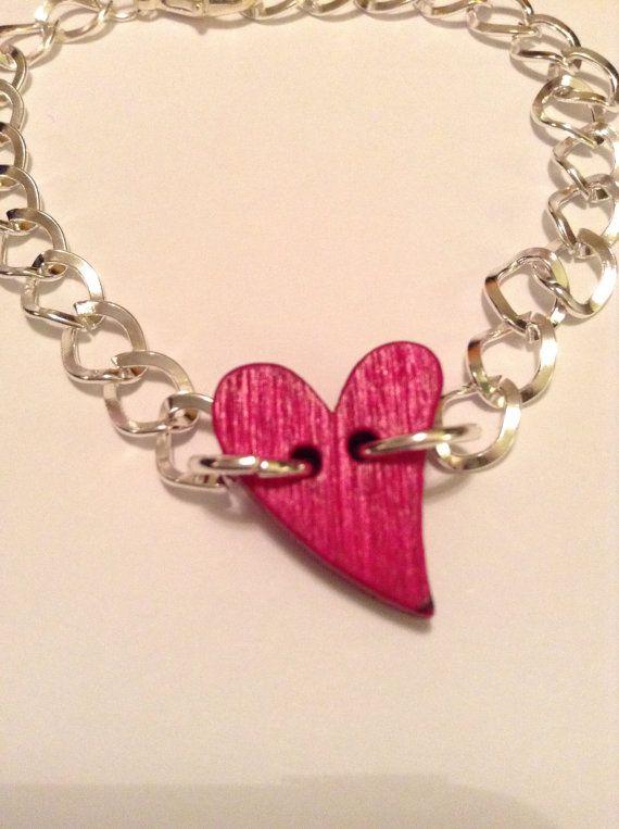 Wooden heart bracelet by leonorafi on Etsy