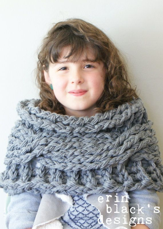 "DIY Crochet PATTERN - Chunky Crochet Twisted Cable Cowl Approximately 12"" tall x 30"" circumference (cowl001)  on Etsy by Erin Black's Designs"