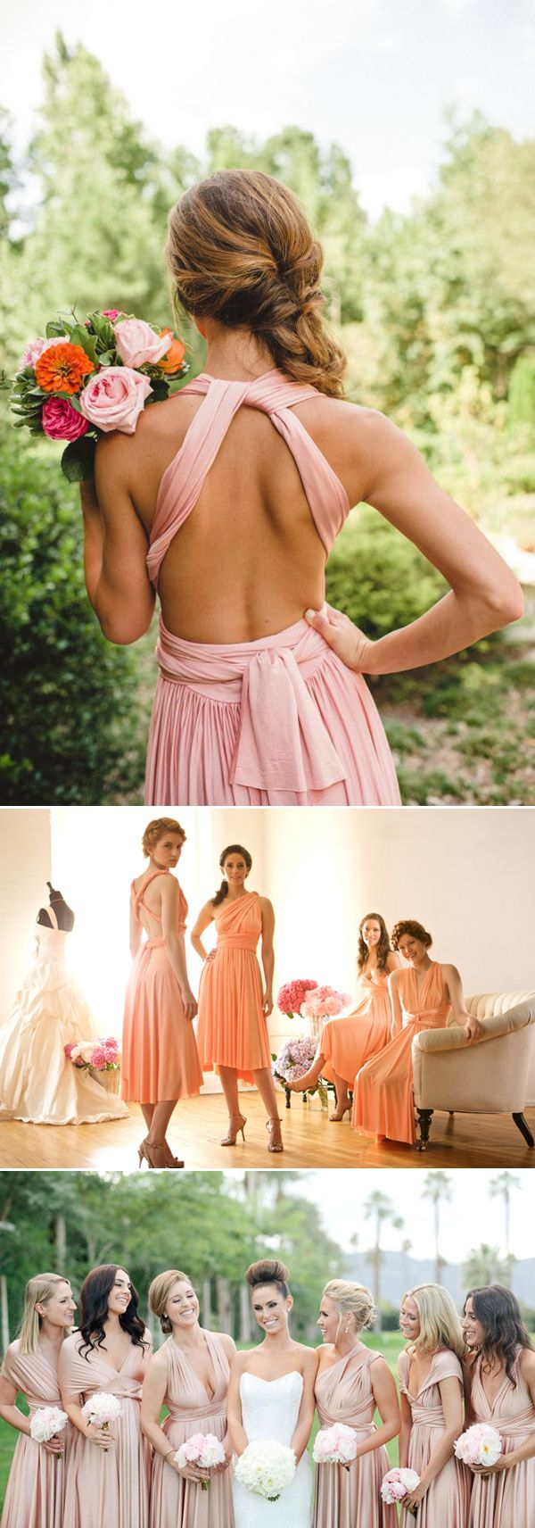 20 Chic and Stylish Convertible (Twist-Wrap) Bridesmaid Dresses - Pink and blush dresses