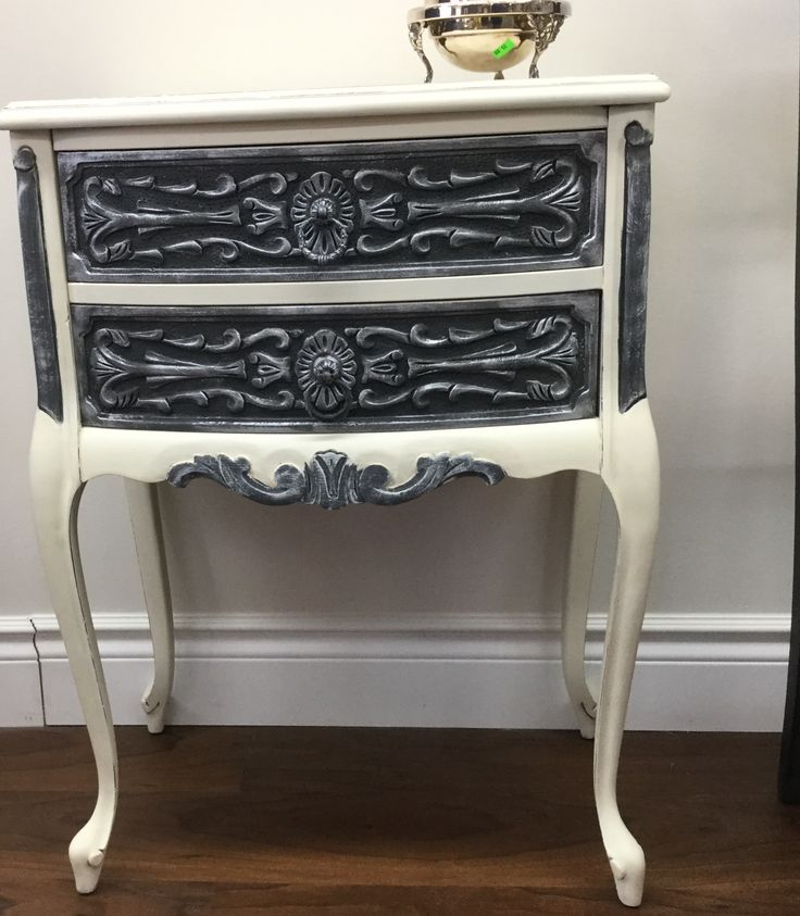 Night tables, two of them. Old white w/graphite and silver gilding.. Chalk paint™ by Annie Sloan.