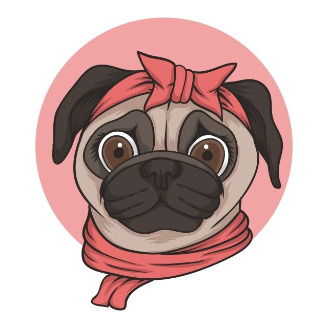 Female Pug Dog Head Vector Illustration Accessory Adorable Animal Png And Vector With Transparent Background For Free Download Pug Dog Cartoon Illustration Pugs