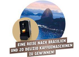 Gewinne mit dem Migros-Wettbewerb eine Reise nach Brasilien im Wert von CHF 10'000.- , oder 20 x 1 Delizio Kaffeemaschine Viva B6 im Wert von je CHF 199.- http://www.alle-gewinnspiele.ch/gewinne-eine-reise-nach-brasilien-und-kaffeemaschinen/