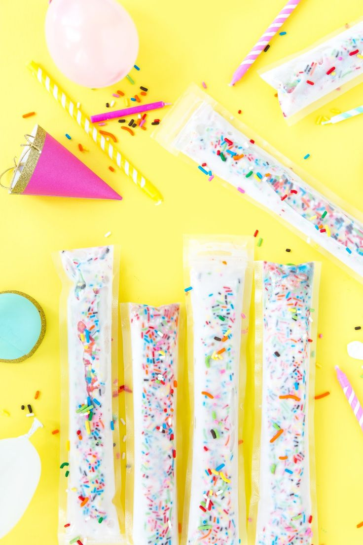 Funfetti Birthday Cake Freeze Pops/Ice Pops Recipe