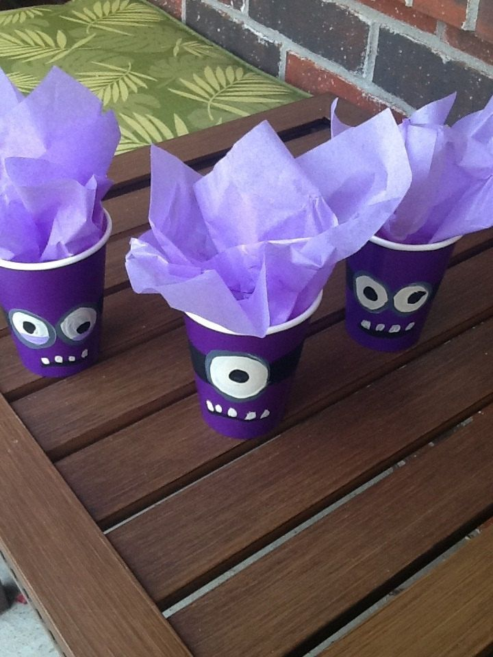 Purple Minion Party Favor Cups- minion party purple minion party favor treat bag birthday decoration party cup goody bag purple minion
