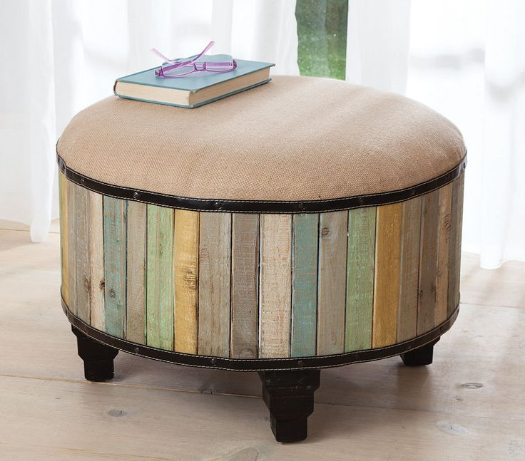 Distressed Wood Storage Ottoman ~ Barnwood ottoman diy recycled re purposed pinterest