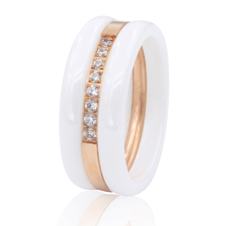 Beauty Of Spring Fashion Cubic Zirconia Stone Ring titanium Ceramic Rings For Women Female Big Wide Luxury Rings