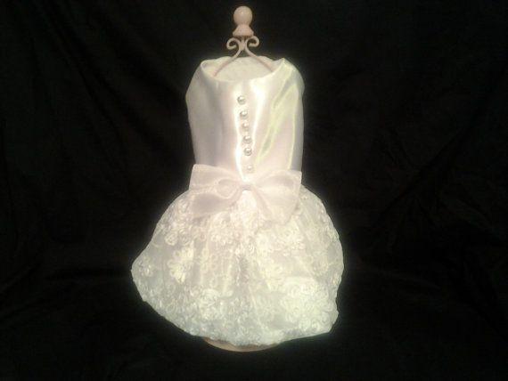Dog Wedding Dress White Satin with Bridal Lace by chicdoggieattire