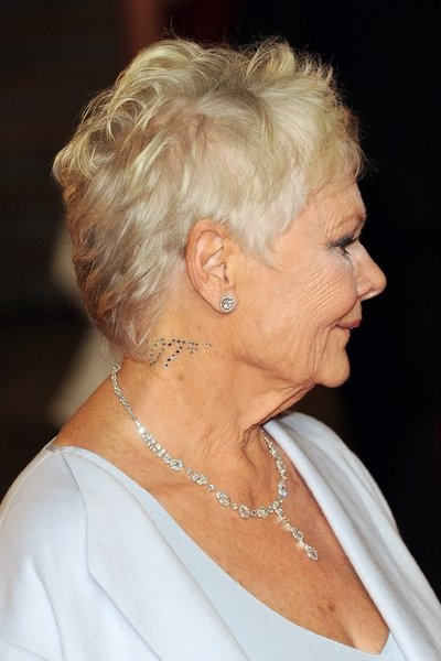 Dame Judi Dench bedazzled her neck for the Skyfall premiere. TOTAL BABE.