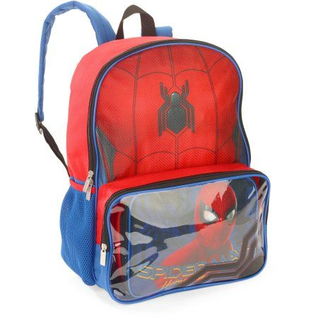 Spiderman Backpack With lunchbox Window Pocket, Red