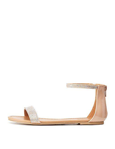 56df9397d27322 Bamboo Rhinestone Ankle Strap Flat Sandals