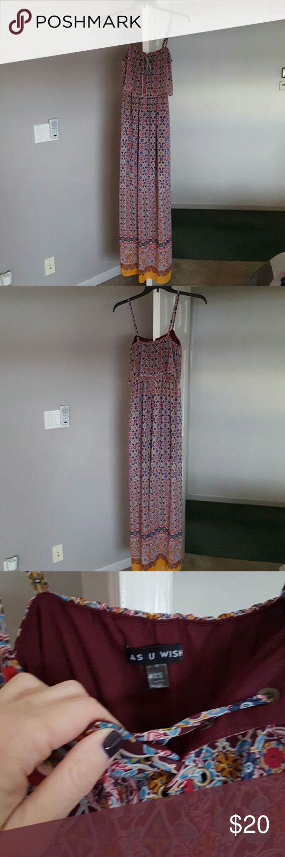 Womens sun dress Great dress by itself or with a sweater or blue jean vest or jacket over it! Excellent condition. As U Wish Dresses Maxi