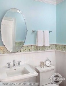 Blue, Green And White Powder Room. Pedestal Sinks Work Well In A Small Space