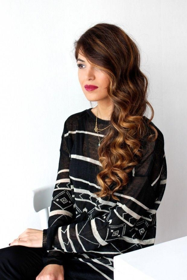 For a dramatic look, pair spiral curls with a deep side part. The side-swept style is perfect for a special occasion, and it's easy to do yourself. Blogger Negin Mirsalehi has the directions and suggests adding your favorite red lipstick for a maximum glam factor.