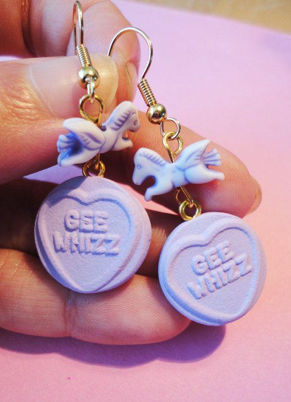 Love Hearts Earrings Lilac Fairy Kei Sweets with by XKawaiiCutieX, £5.00