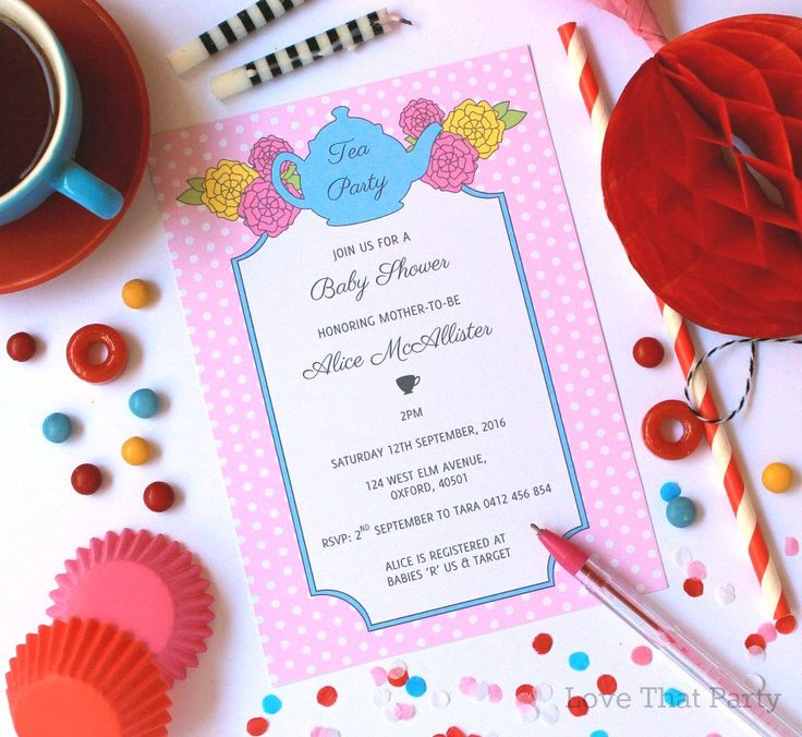 tea party baby shower invitation high tea baby shower floral tea party invitation invite printable pink polka dot u print