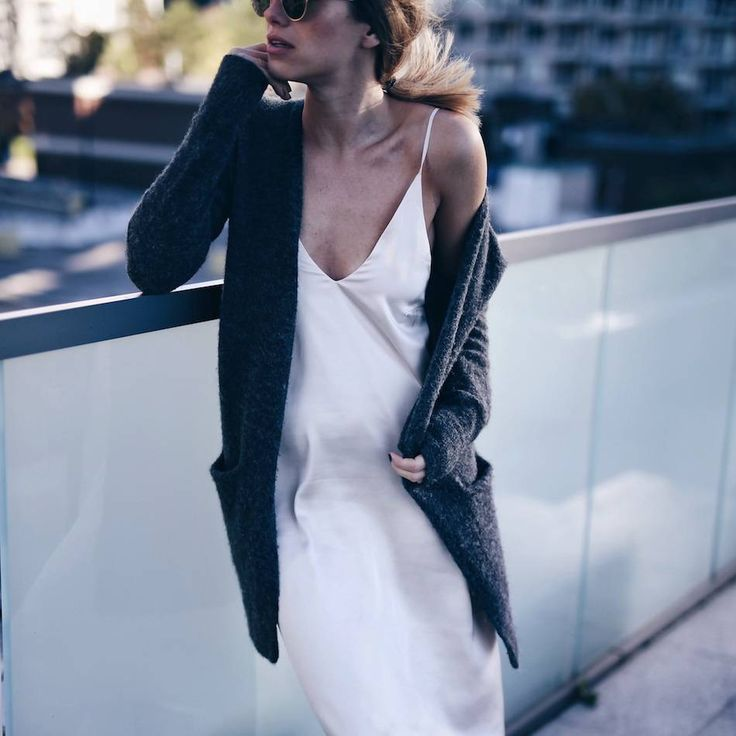 silk slip dress and gray cardigan
